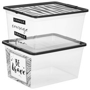 Aufbewahrungsbox Industrial - Transparent/Schwarz, KONVENTIONELL, Kunststoff (38,4/19,9/28,3cm)