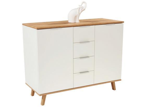 Komoda Turin 3 - bílá/barvy dubu, Moderní, kompozitní dřevo (120/87/40cm)