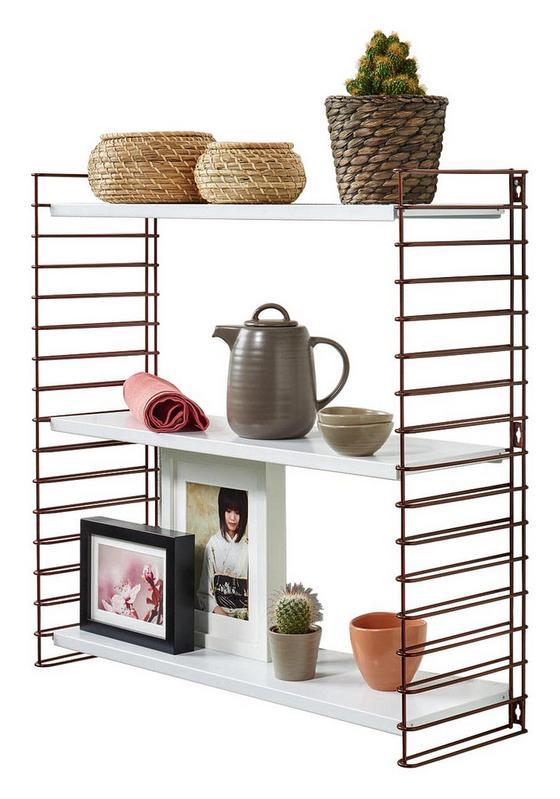 Wandregal Tomado 70cm Bronze/ Weiß - Bronzefarben/Weiß, KONVENTIONELL, Kunststoff/Metall (70/68/21cm) - Tomado