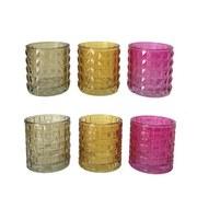 Teelichthalter Alfia - Pink/Gelb, Basics, Glas (7/7,5cm) - Luca Bessoni
