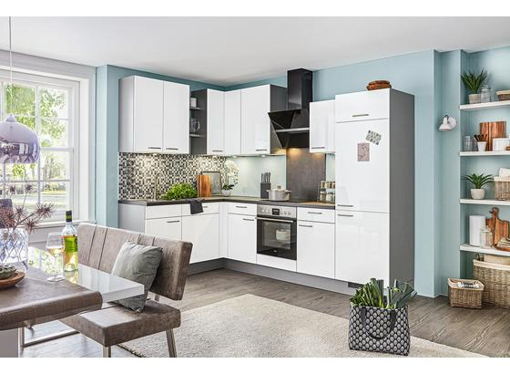 Rohová Kuchyňa Pn220 - biela/farby ušľachtilej ocele, kompozitné drevo (175/285cm) - Pino