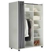 Kleiderschrank Jenke Weiß/Grau - Weiß/Grau, Basics, Holzwerkstoff/Textil (100/145/50cm) - MID.YOU