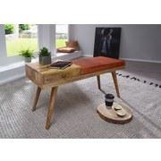 Sitzbank Salim B: 100 cm Leder - Braun, Natur, Leder/Holz (100/52/38cm) - MID.YOU