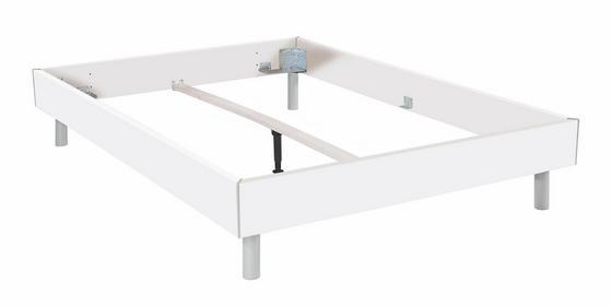 Futonbettrahmen Belia, 160x200 cm - Alufarben/Weiß, KONVENTIONELL, Holzwerkstoff (160/200cm)