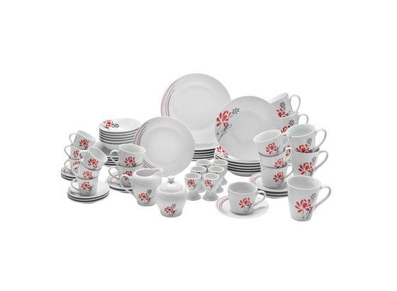 Kombinovaný Servis Flora, 62 Dielny - biela/červená, keramika - Mömax modern living