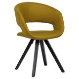 Armlehnstuhl Webstoff Currygelb Gepolstert - Currygelb/Schwarz, MODERN, Holz/Textil (56/80/50cm) - MID.YOU