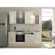 Küchenblock Abaco 220 cm Perlmutt - Perlmutt/Akaziefarben, MODERN, Holzwerkstoff (220/230/60cm) - FlexWell.ai