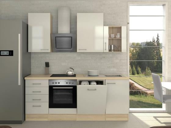 Küchenblock Abaco 220 cm Perlmutt - Perlmutt/Akaziefarben, MODERN, Holzwerkstoff (220/230/60cm)