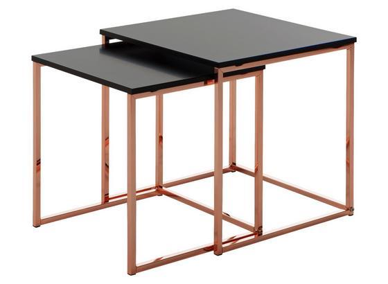 Satztisch Cala 2- teilig - Schwarz/Kupferfarben, Design, Holzwerkstoff/Metall (40/42/40cm) - Livetastic