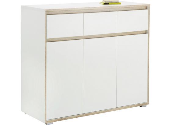 Komoda Sideboard Pluto - biela/dub sonoma, Moderný, kompozitné drevo (118/103/48cm)