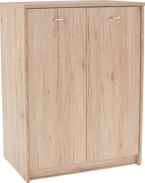 Komoda 4-you Yuk07 - bílá/tmavě hnědá, Moderní, kompozitní dřevo (74/111,4/34,6cm)
