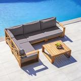 Záhradná Sedacia Súprava Kerry - tmavosivá/farby agátu, Moderný, drevo/textil - Modern Living