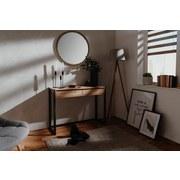 Beistelltisch mit Schubladen Denver, Eichefarben/Schwarz - Eichefarben, KONVENTIONELL, Holzwerkstoff (100/35/75cm) - Livetastic