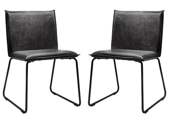 Stuhl-Set 2-Er Set Grau - Schwarz/Grau, Basics, Textil/Metall (55/79/50cm)