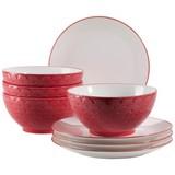 Desserttellerset Telde 8-teilig, Rot - Rot, Basics, Keramik (41,3/26,6/32,6cm)