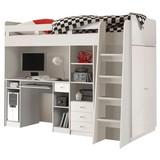 Stauraumbett Unit 90x200 inkl. Schreibtisch und Leiter - Weiß, MODERN (204/160/124cm)
