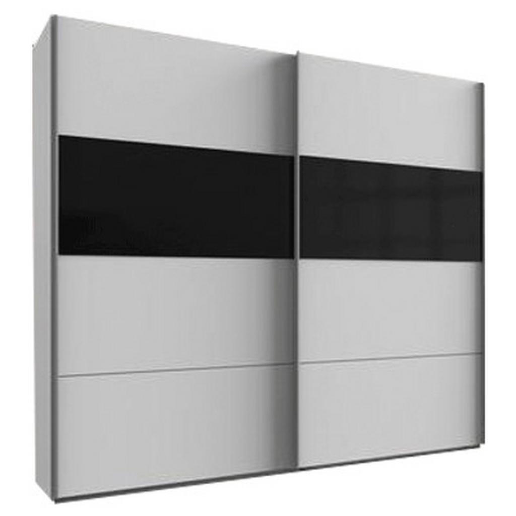 skříň s posuvnými dveřmi Bramfeld,bílá/sklo Černé