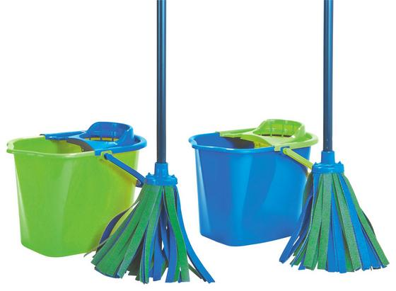 Felmosó Szett 4 Részes - kék/zöld, konvencionális, műanyag