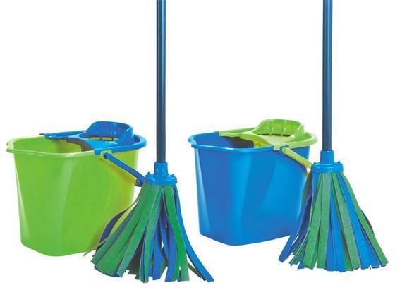 Wischmopp Ajko, inkl. Eimer - Blau/Grün, KONVENTIONELL, Kunststoff - Homezone