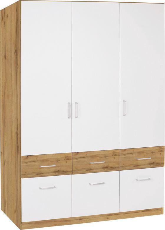 Skříň Šatní Aalen-extra - bílá/barvy dubu, Konvenční, dřevěný materiál (136/197/54cm)