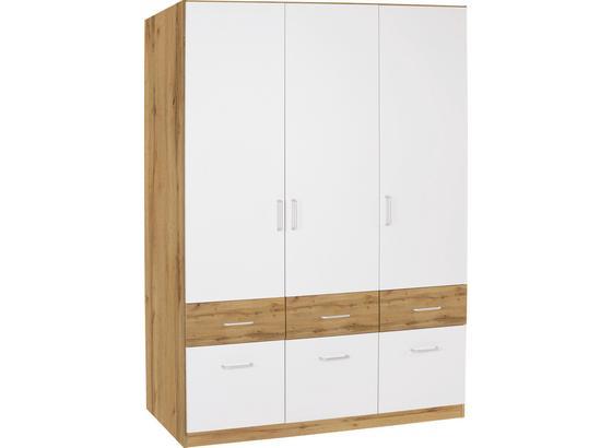 Skříň Šatní Aalen-extra - bílá/barvy dubu, Konvenční, kompozitní dřevo (136/197/54cm)
