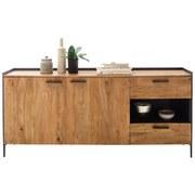 Sideboard Echtholz Massiv mit Türdämpfer B 183cm Kuba Akazie - Anthrazit/Grau, Basics, Holz/Holzwerkstoff (183/83/40cm)
