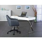 Schreibtisch mit Stauraum B 120cm H 75cm Grace, Weiß - Chromfarben/Weiß, Design, Holzwerkstoff/Metall (120/75/55cm) - Livetastic