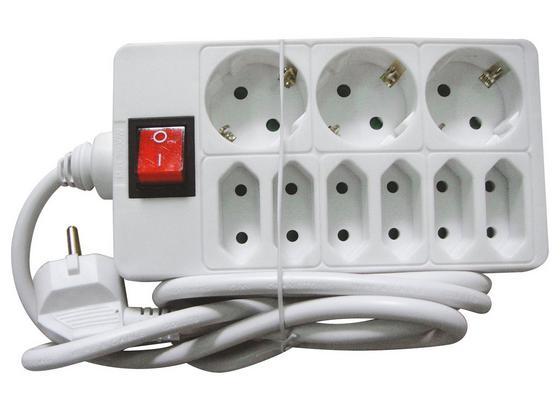 Steckdosenleiste mit Schalter - Weiß, KONVENTIONELL, Kunststoff (150cm) - Homezone