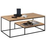 Couchtisch Holz/Eisen mit Ablagefach Thore 2, Eiche - Eichefarben/Schwarz, Design, Holz/Metall (110/60/42cm) - Hom`in
