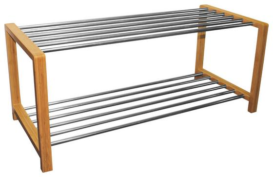 Regál Na Topánky Larissa - prírodné farby/chrómová, Moderný, kov/drevo (83/34/34cm) - James Wood