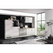 Küchenblock Premium B: 320 cm Weiß Hgl - Hellgrau/Weiß, MODERN, Holzwerkstoff (320cm) - MID.YOU