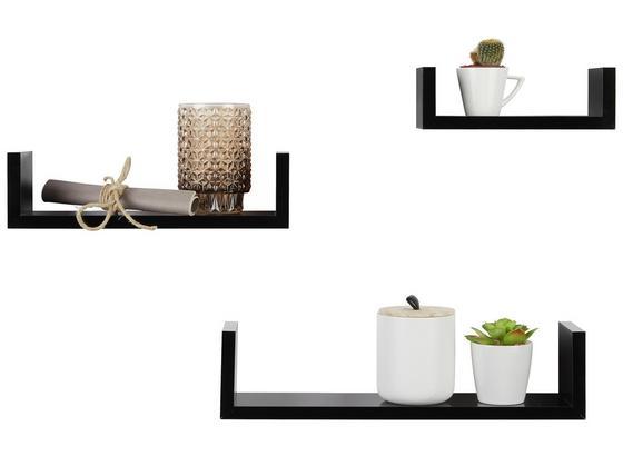 Nástenná Polica - Sada U-bord - čierna, kompozitné drevo (42/32/22/10/10/8,5/7cm) - Modern Living