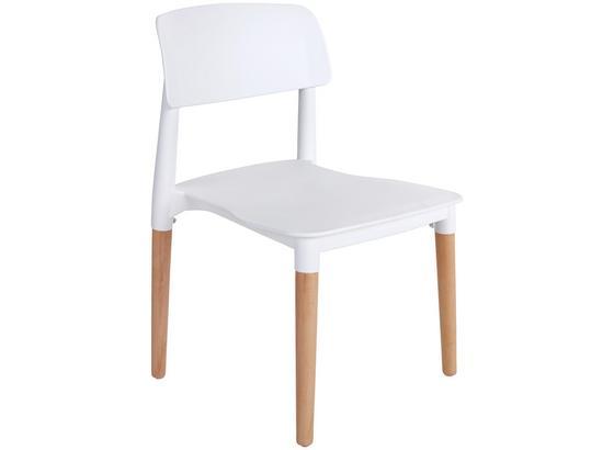 Esszimmerstuhl Ernie Weiß Beine Echtholz, Buche - Weiß/Naturfarben, MODERN, Holz/Kunststoff (43/76,5/47cm) - Ombra