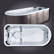 Whirlpool Edelstahl Swimspa Boston 480x220x135 cm - Braun/Weiß, LIFESTYLE, Holzwerkstoff/Metall (480/220/135cm)