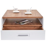 Couchtisch Holz mit Lade+ Ablagefächer Avensis, Dekor - Eichefarben/Weiß, MODERN, Holzwerkstoff (75/40/75cm) - Luca Bessoni