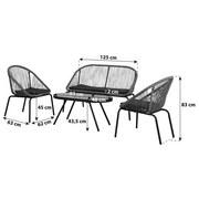 Loungegarnitur Allegra 4-teilig inkl. Sitzauflagen - Schwarz/Grün, MODERN, Glas/Kunststoff
