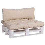 Palettenkissen 2er Pack Loungeset 120x80x16 cm Beige - Beige, Basics, Textil (120/80/16cm)