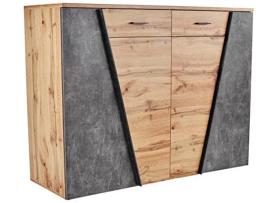 Kommode Venedig B:160cm Wotan Eiche/Beton Dunkel Dekor - Eichefarben/Schwarz, MODERN, Holzwerkstoff (160/110/40cm)