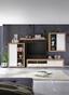 Obývací Stěna Mallorca - bílá/barvy dubu, Moderní, kompozitní dřevo/sklo (290/189/48cm)