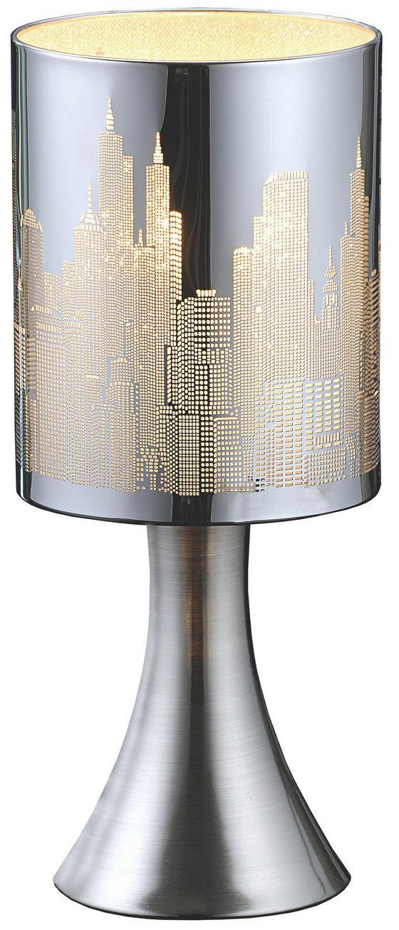 Tischleuchte Skyline - Chromfarben/Weiß, KONVENTIONELL, Kunststoff/Metall (12,5/30cm) - Luca Bessoni