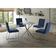 Stuhl Luise B: 45cm Blau - Blau/Silberfarben, Basics, Textil/Metall (45/98/60cm)