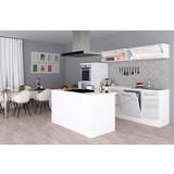 Einbauküche Premium B: 310 cm Weiß Hgl - Weiß, MODERN, Holzwerkstoff (310/200/270cm) - MID.YOU