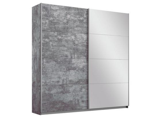 Schwebetürenschrank mit Spiegel 181cm Belluno, Grau Dekor - Grau, MODERN, Holzwerkstoff (181/210/62cm)
