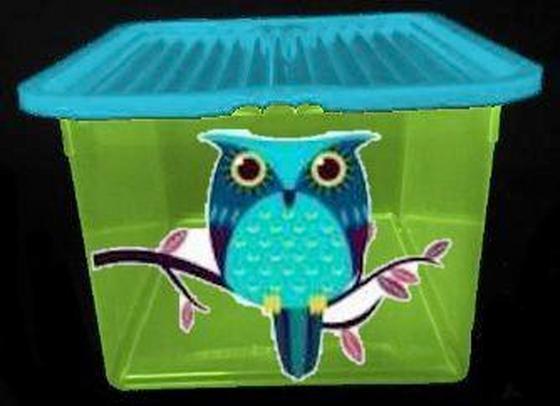 Tárolódoboz Bagoly Minta - multicolor, konvencionális, műanyag (45.5/34/24cm) - PLAST 1