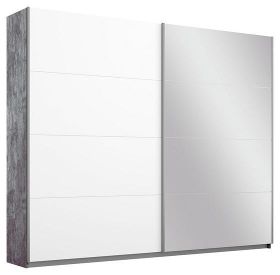 Schwebetürenschrank Belluno 226 cm Stone/Weiß/sp. - Weiß/Grau, MODERN, Holzwerkstoff (226/210/62cm)