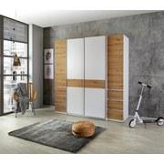 Drehtürenschrank mit Laden 215cm Fabio, Eiche/Weiß - Eichefarben/Weiß, KONVENTIONELL, Holzwerkstoff (215/215/62cm)