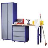 Werkbankset Small 201 cm Grau/blau - Blau/Buchefarben, KONVENTIONELL, Holz/Metall (201/187/60cm) - Erba