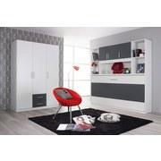 Drehtürenschrank mit Laden 136cm Albero, Weiß/Grau - Weiß/Grau, Design, Holzwerkstoff (136/197/54cm) - MID.YOU