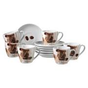 Espressotasse mit Untertasse Latte Macchiato 6-Tlg - Braun/Weiß, Basics, Keramik (40/30/20cm)
