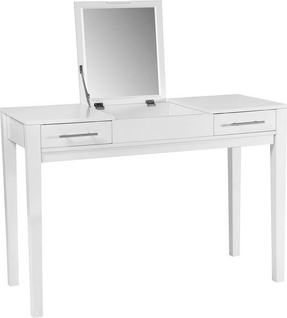 Sminkasztal Jasmin - fehér, modern, üveg/faanyagok (110/76/44,50cm)